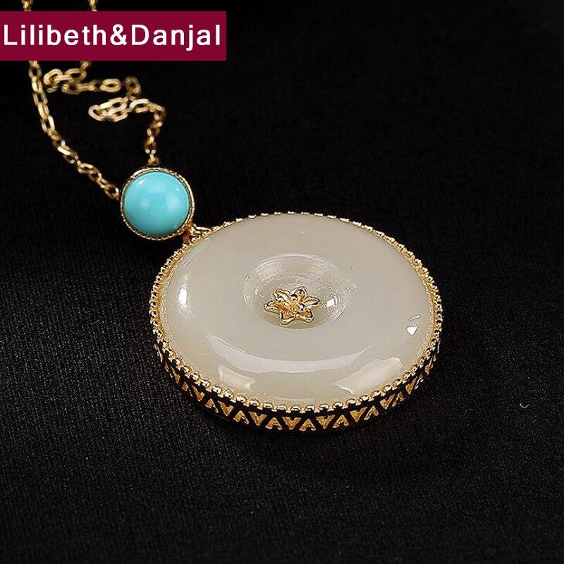 2019 pierre naturelle calcédoine Turquoise pendentif 100% 925 argent Sterling femmes collier pendentif bijoux natuursteen cintre P07