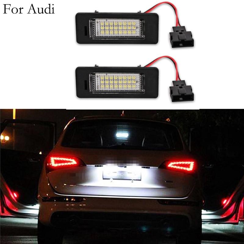 2 шт. 12V 3W 3528 SMD СВЕТОДИОДНЫЙ Подсветка регистрационного номера лампа для Audi A1 A4 A5 A6 A7 Q5 TT TTS RS5 6000k белый ошибок лицензии шарик
