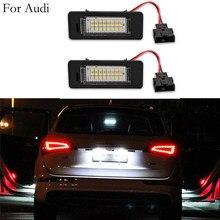 2 pces 12v 3w 3528 smd led luzes da placa de licença lâmpada para audi a1 a4 a5 a6 a7 q5 tt tts rs5 6000k branco erro livre lâmpada licença