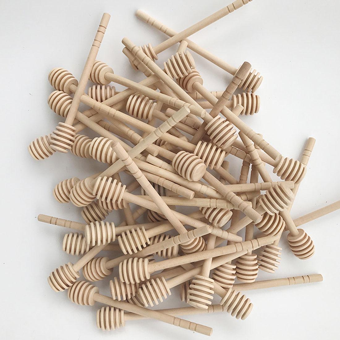 Top Sale Mini Wooden Honey Wood Honey Spoon Stir Bar For Honey Jar Supplies Long Handle Mixing Stick Dipper Dessert Tools
