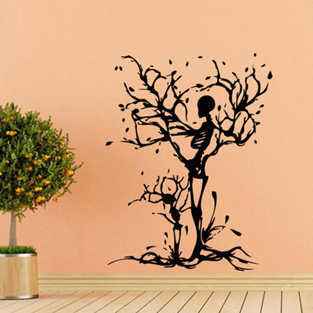 creative black tree wall sticker halloween skeleton wall decal