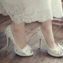 Luxurious White Lace Peep Toe Koren Wedding Shoes Fashion Platform Popular Stiletto Heel Bride Shoes Model Bridal