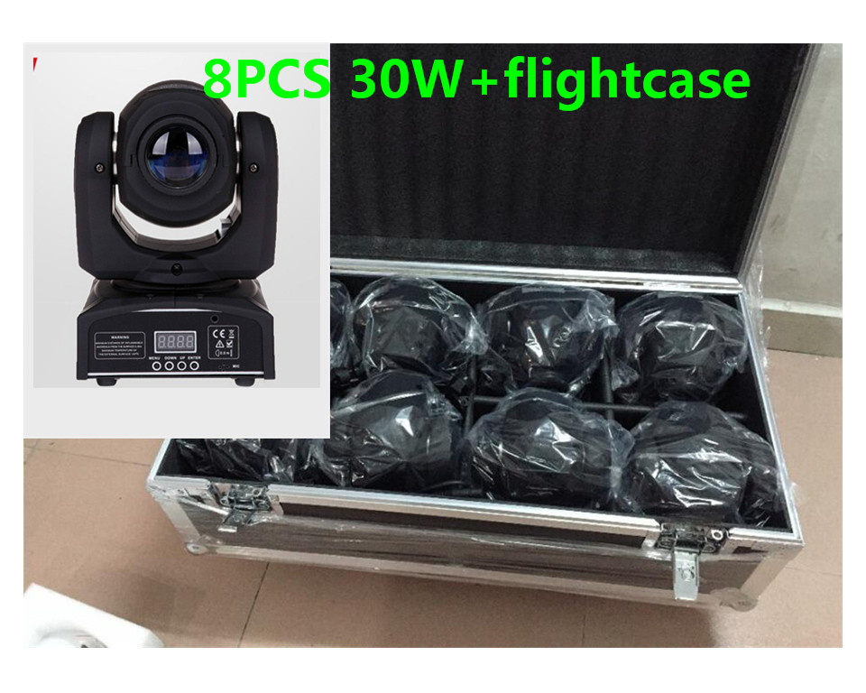 8PCS 30W mini Moving Head + flightcase LED Spot Moving Head Light/USA Luminums 30W LED DJ Spot Light niugul dmx stage light mini 10w led spot moving head light led patterns lamp dj disco lighting 10w led gobo lights chandelier