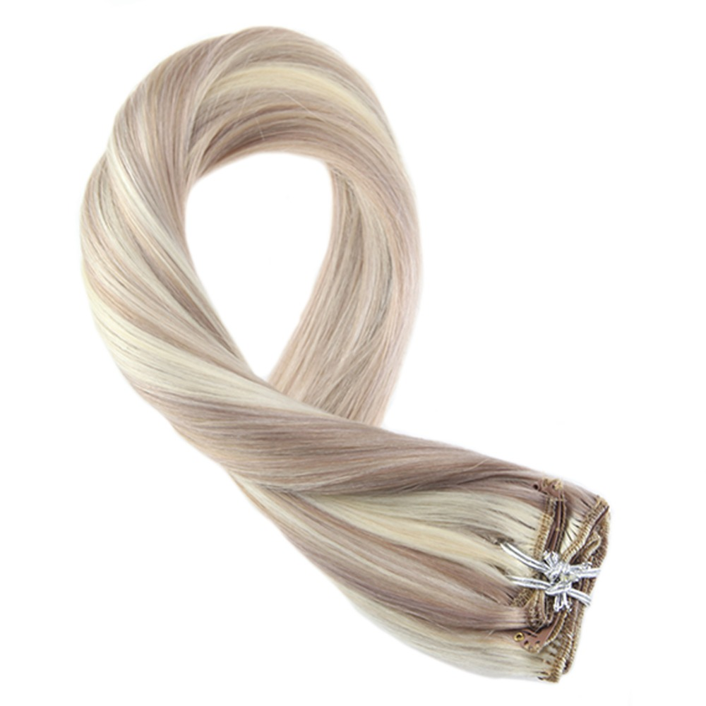 Moresoo Clip In Hair Extensions Ash Blonde Highlight With Blonde #613 Full Head Set 7Pcs 100g Remy Clip In Human Hair Extensions