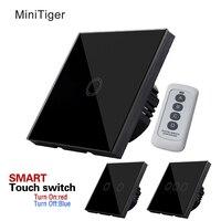 MiniTiger EU UK Standard Single FireWire Touch Switch Screen Wall Light Switch New Crystal Glass Panel