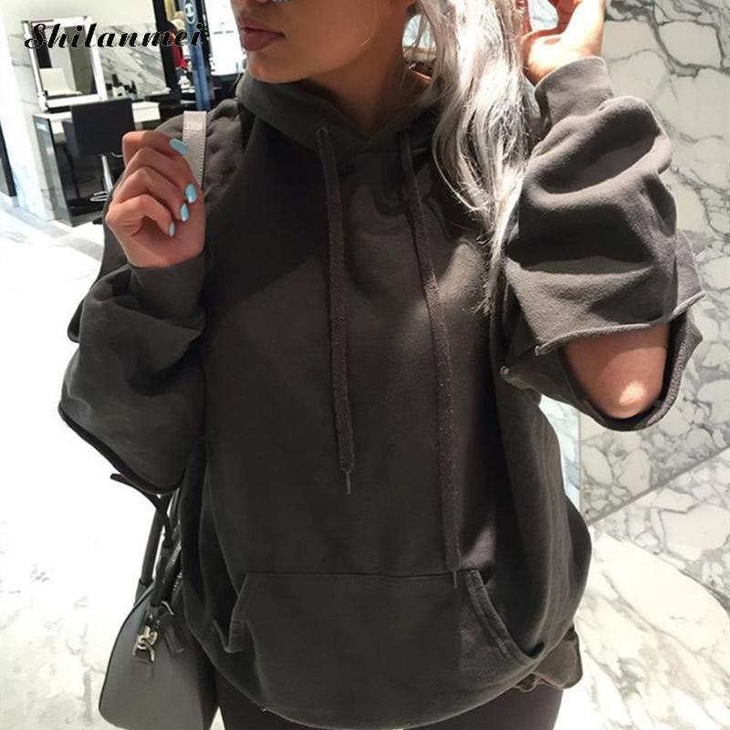 KPOP с длинным рукавом женщин Толстовки пуловер Solid полые свободные хлопковые толстовка плюс Размеры черный Повседневное Толстовка