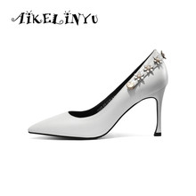 AIKELINYU Fashion Summer Genuine Leather Woman Shoes 2019 Women White Flower Heels Brand Wedding Party