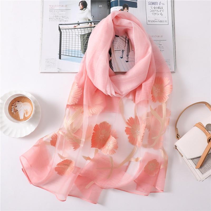 new style 2019 summer women   scarf   fashion silk   scarves   lady shawls and   wraps   foulard bandana soft and thin beach stoles pashmina