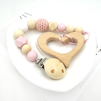 Set Of PINK Crochet Princess Pacifier Chain And Wooden Heart Teether Hex Silicone Round Bead Dummy