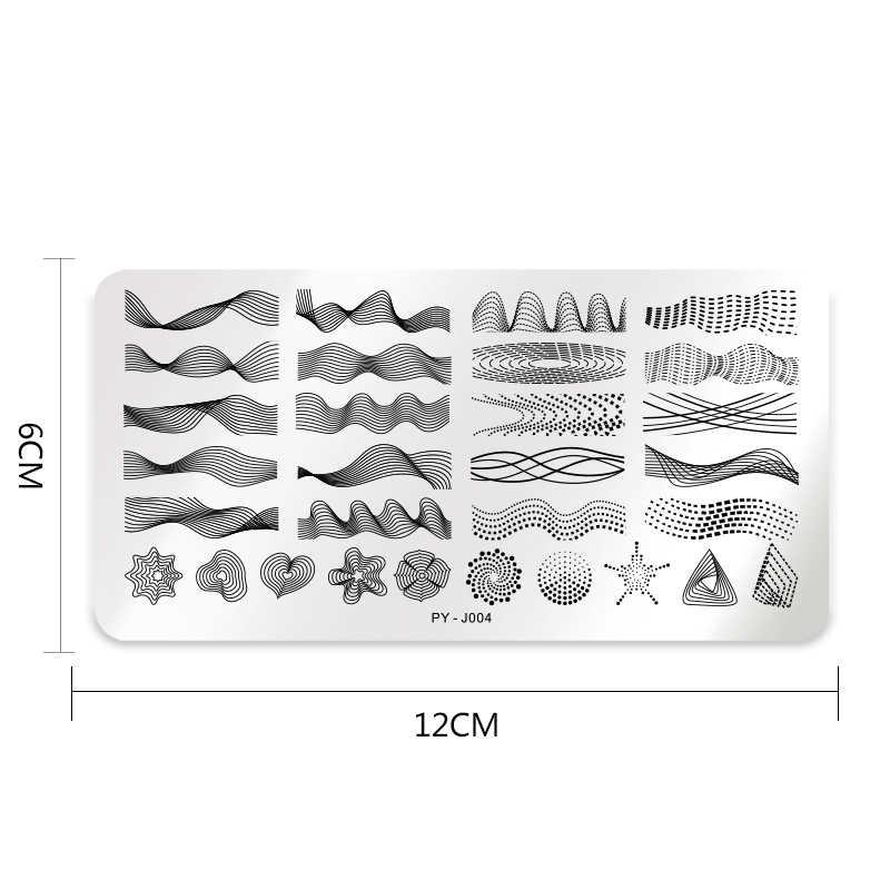 PICT YOU ногтей штамповки пластины прямоугольник Геометрическая линия волна узор из нержавеющей стали художественный штамп с изображением для ногтей трафареты дизайн J004