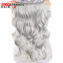 Hairpieces Synthetic-Hair-Extensions Fake Strands Hair-190g Clip-In Grey Wavy 24inch