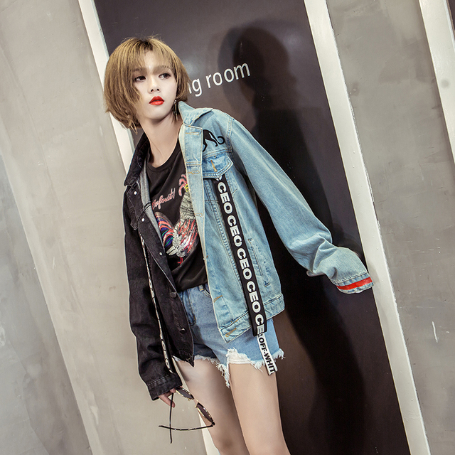 0749c1107085d Top Sale Autumn winter Ceo Letters basic denim jackets Plus size Vintage  Women