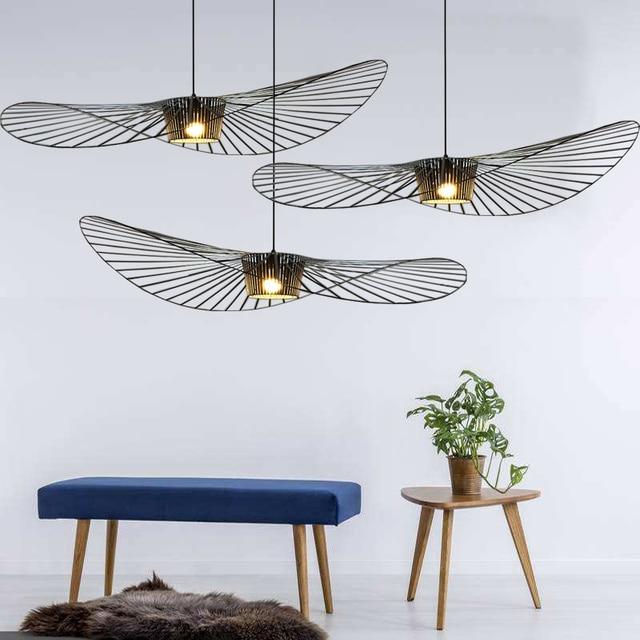 hanging pendant light living room best gray paint colors for modern straw hat suspension lights cafe white black blue lamps e032
