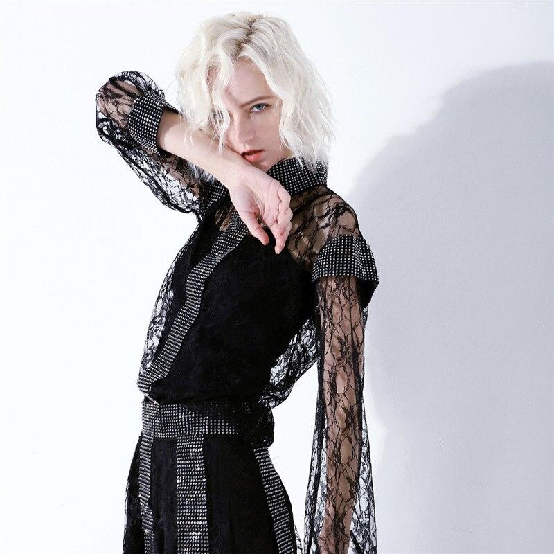 Brillant Pièces Costumes Deux Noir Jupe Luxe Mode Blingbling 2019 Nouvelle De Piste Diamant Blouse Minijupe Femmes Dentelle Chemises Ensembles F7Tqn