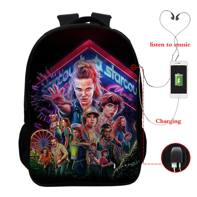 Mochila Stranger Things Backpack 16 Inch Sac A Dos 3 School Bags For Teenage Girls Bookbag Cartera Mujer Hombre Rucksack Bagpack