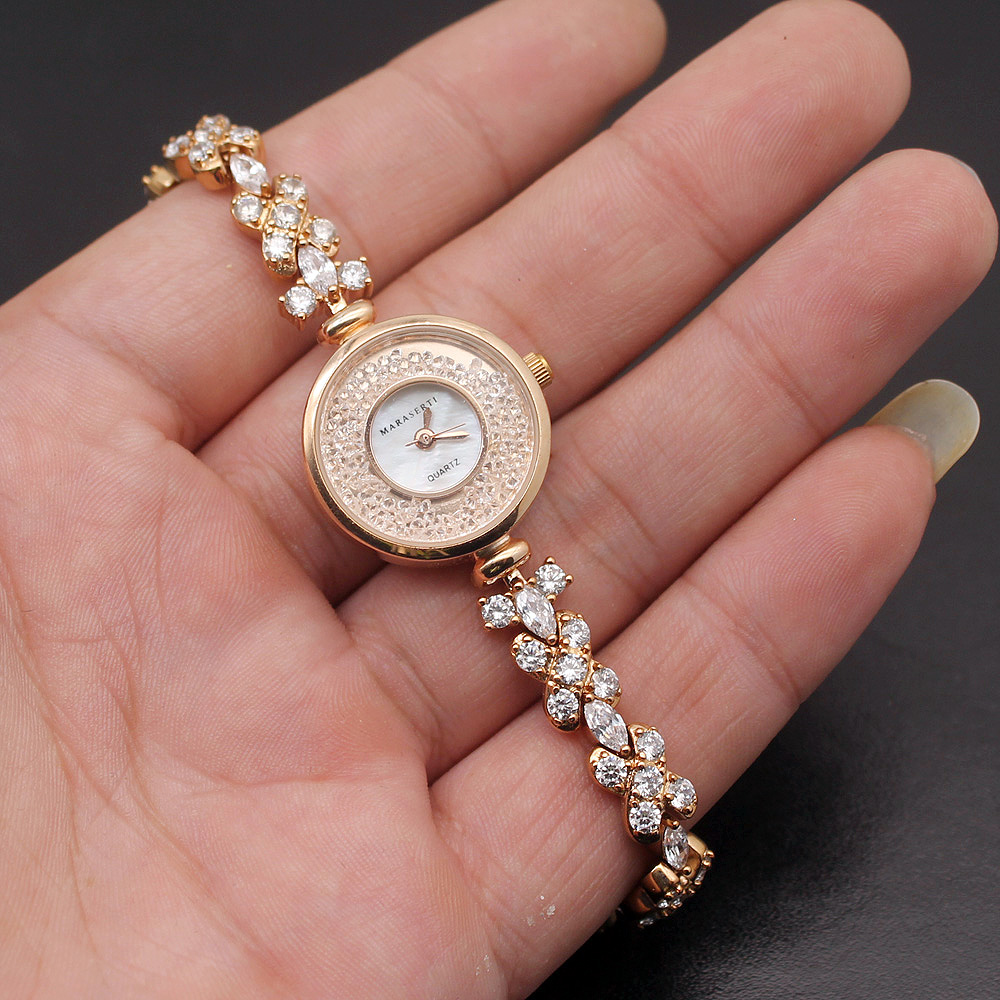 2018 New Design Wristwatch Band Rose Gold WhiteTOPAZ Chain Links Women Watch Bracelet 8.5 Inches W01 wing design chain bracelet