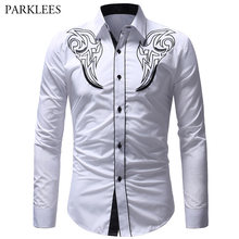Mens Totem Geborduurde Shirts 2019 Nieuwe Lente Casual Slim Fit Sociale Overhemd Mannen Wedding Party Lange Mouwen Business Blouses(China)