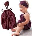 2016 Baby Girl Roupas de Verão Macacão de Bebê Moda Algodão Arreios Cabeça + cinto 2 pcs bebe Recém-nascidos Infantil Traje Do Bebê Conjunto de roupas