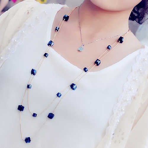Square Rhinestones Golden Women Long Chain Sweater Necklace Metal Chain Fashion Jewelry Cross Necklace Woman