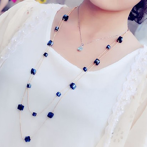 Women Square Rhinestones Golden Chain Long Sweater Necklace Women