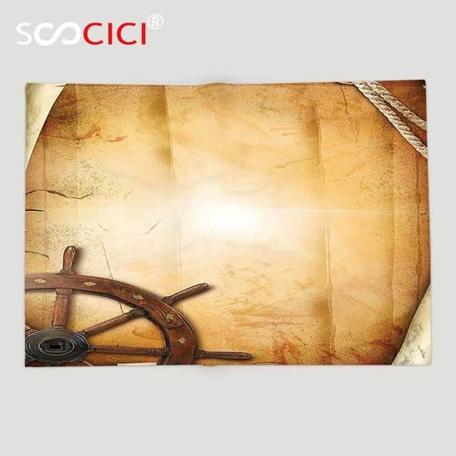 مخصصة لينة الصوف رمي بطانية ديكور التوضيح من عجلة القيادة عجلة السفن على القديم العتيقة ورقة التاريخي السفر