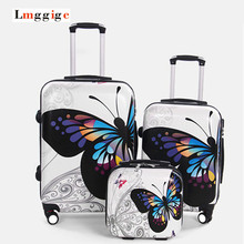 Upgraded version Carry-Ons,Cartoon butterfly picture Luggage,Child Women's Suitcase,ABS Travel Bag,Universal wheel Trolley box