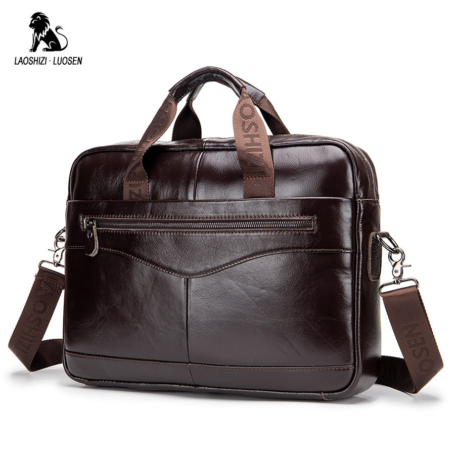 LAOSHIZI LUOSEN Top Sell Fashion Simple Famous Brand Business Men Briefcase Bag Leather Laptop Bag Casual Man Bag Shoulder Bag
