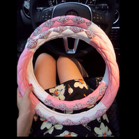Crystal Rhinestone Leather Steering Case Diamond Car Steering Wheel Covers Auto Accessories For Women and Girls Pink