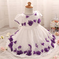 2016 Cute Newborn Baby Girls Flower Dress Pageant Baptism Party Lace Tutu Formal Dress Floral Bow Princess Christening Dresses