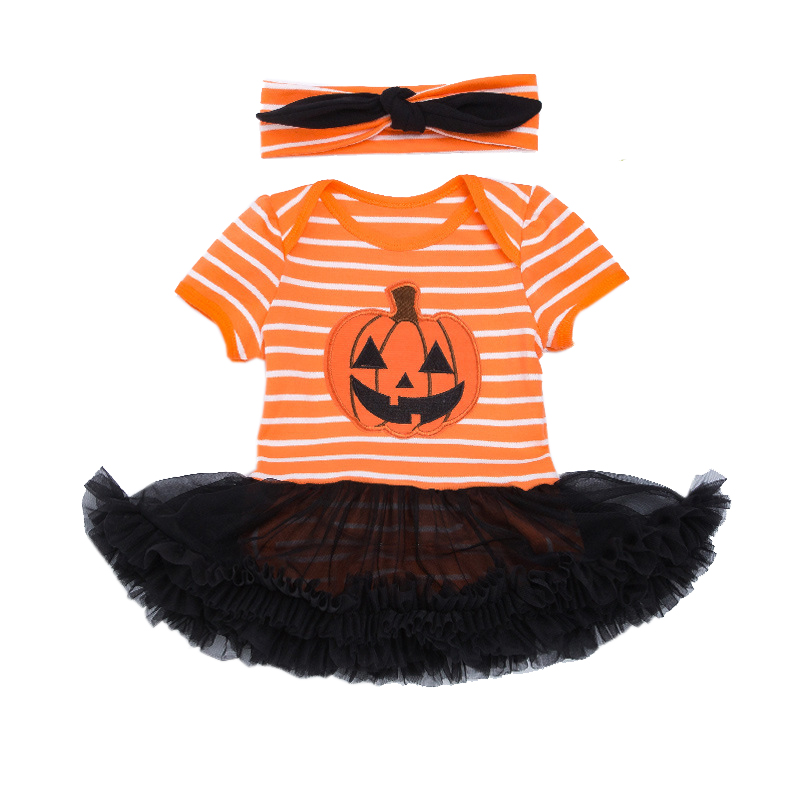 Pumpkin Toddler Jumpsuit Bebes Halloween Costumes Short Sleeve For Baby Girl Clothing Ba ...