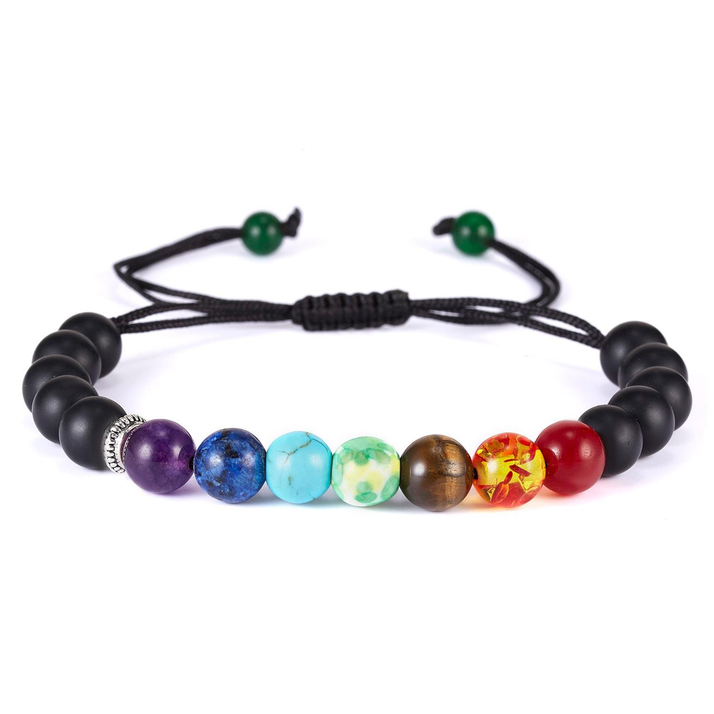 Classic Chakra 8mm Lava Stone Beads 7 Color Chain Bracelets for Women Men Elastic Rope Yoga Fashion A Bracelet Friendship 1
