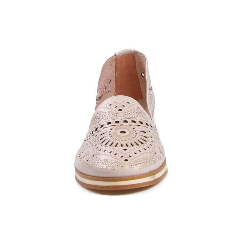 Semelle Véritable Apricot Dames Femmes Casual Chaussures Plate En 2018 Rond Automne Mode Bout Appartements Découpe Wetkiss Cuir Impression a0741