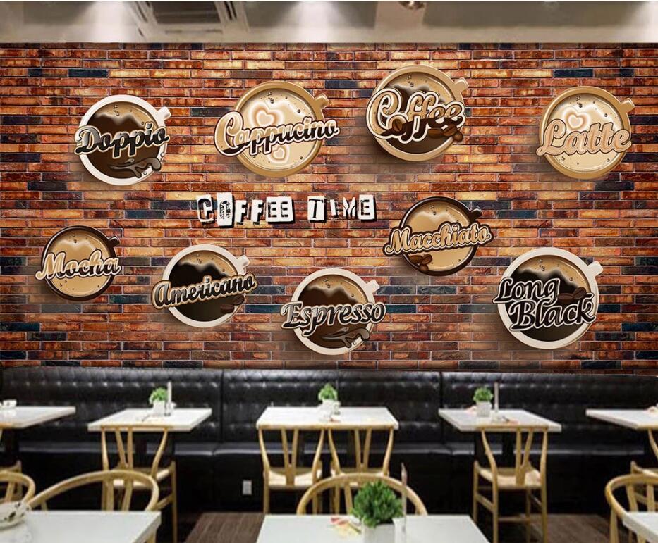 Custom wallpaper mural retro European cuisine hand-painted coffee background wall