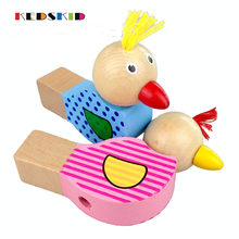 1PCS Wooden Cartoon Baby Rattles Animals Bird Whistle Baby Wooden Musical Toys Baby Crib Stroller Toy(China)