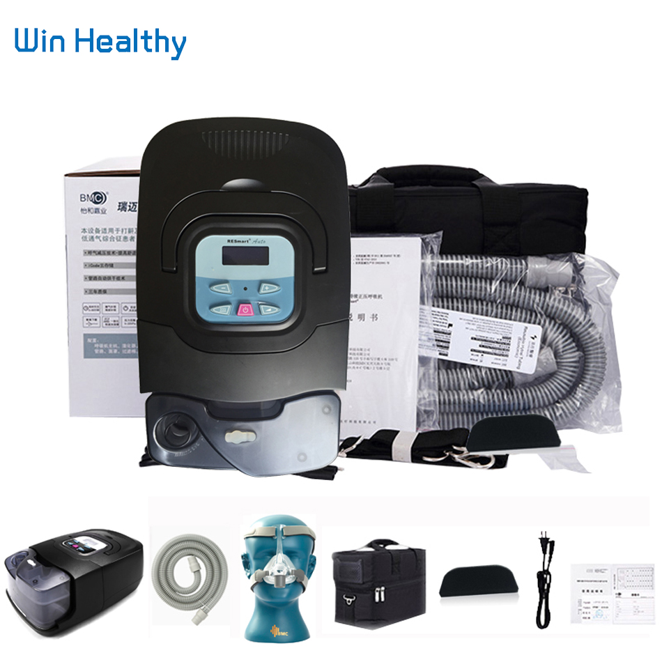 BMC GI Auto CPAP Machine Black Shell Portable Sleep Massage & Relaxation Respirator With Air Humidifier Treatment Mask Filters doctodd gii bpap t 20s cpap machine w free mask humidifier and spo2 kit respirator for apnea copd osahs osas snoring people