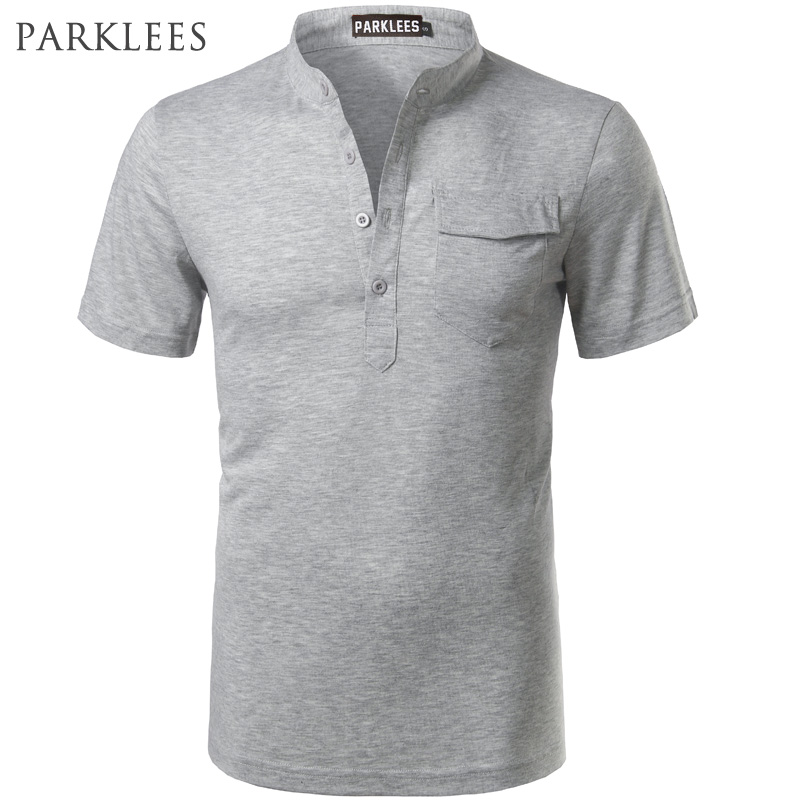 Solid Color   Polo   Shirt Men 2017 Brand New Stand Collar Short Sleeve   Polo   Shirt Homme Casual Slim Fit Real Pocket Henley Shirt