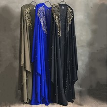 Plus Size African Dresses for Women Dashiki Diamond Beads African Clothes Abaya Dubai Robe Evening Long Muslim Dress Hooded Cape