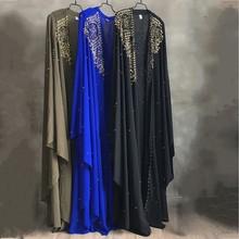 Plus rozmiar sukienki afrykańskie dla kobiet Dashiki diamentowe koraliki afrykańskie ubrania Abaya dubaj szata wieczorowa długa sukienka muzułmańska peleryna z kapturem