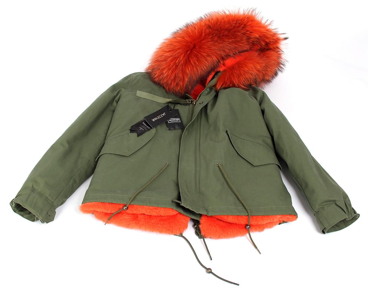 JAZZEVAR 2019 femme armée vert grand raton laveur col de fourrure manteau à capuche parkas outwear 2 en 1 doublure amovible veste d'hiver-in Parkas from Mode Femme et Accessoires    3