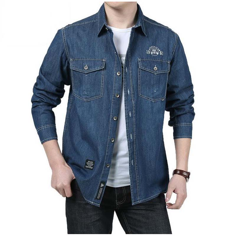 M-5XL Fashion cowboyshirt Men's Long Sleeve Casual Plus-size Shirt Loose Denim Shirts Man Autumn Tops