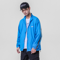 Male Women Streetwear Hip Hop Windbreaker Jackets Coat Biker Jacket Men Summer Fashion Ribbons Spliced Loose Causal Jacket