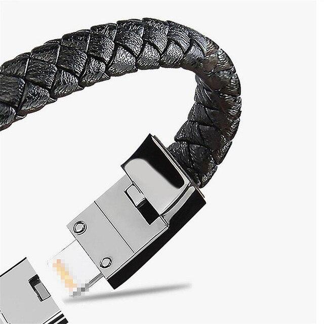 Couro real quente mini micro usb pulseira carregador de dados cabo de carregamento cabo de sincronização para iphone 6 6s 7 plus android tipo-c cabo de telefone 1