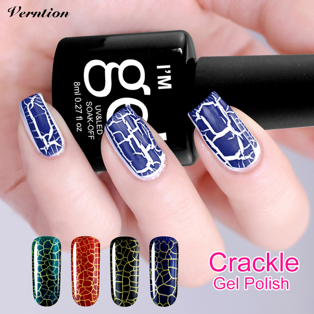 Verntion brand lucky Colorful Glue Crackle Shatter Gel Nails Polish ...