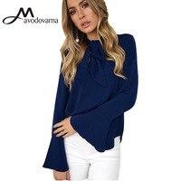Avodovama M Fashion Elegant Chiffon Blouse Shirt Female Solid Long Sleeve Bow Flare Sleeve Casual Blouse