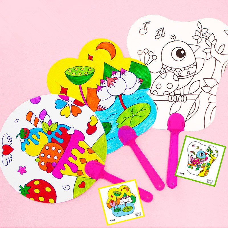 2pcs/lot Kids Hand Paint Paper Fan Coloring Pictures DIY Craft Project Creative Drawing Toys Children Kindergarten Education Toy