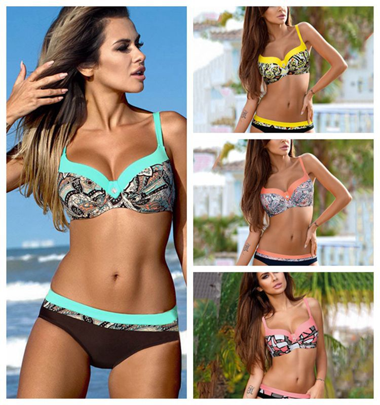 2019 New Items Swimwear Women Swimsuit Female Separate Biquini Bathing Suit Women Bikini Push Up Sexy Thong Yellow Pink  Bikini