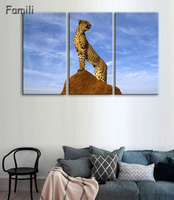 3Pcs Canvas Animal Printing High Quality HD Cheap Price Great Art African Cheetah Pictures Modular Modern