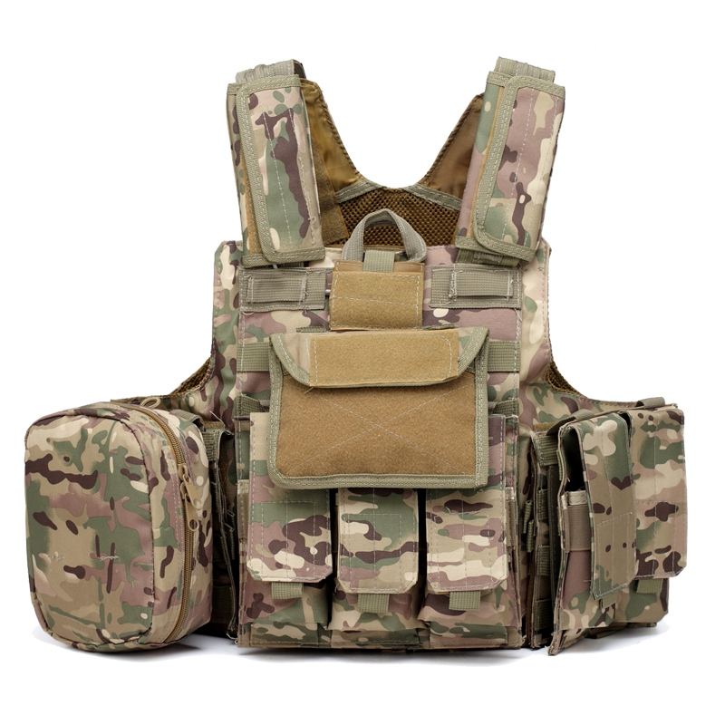 Outdoor Multicam Molle CIRAS Tactical Vest Airsoft Paintball Hunting Vest W/Magazine Pouch & Utility Bag Armor Carrier Vest military molle admin front vest ammo storage pouch magazine utility belt waist bag for hunting shooting paintball cf game