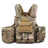 Outdoor Multicam Molle CIRAS Tactical Vest Airsoft Paintball Hunting Vest W/Magazine Pouch & Utility Bag Armor Carrier Vest