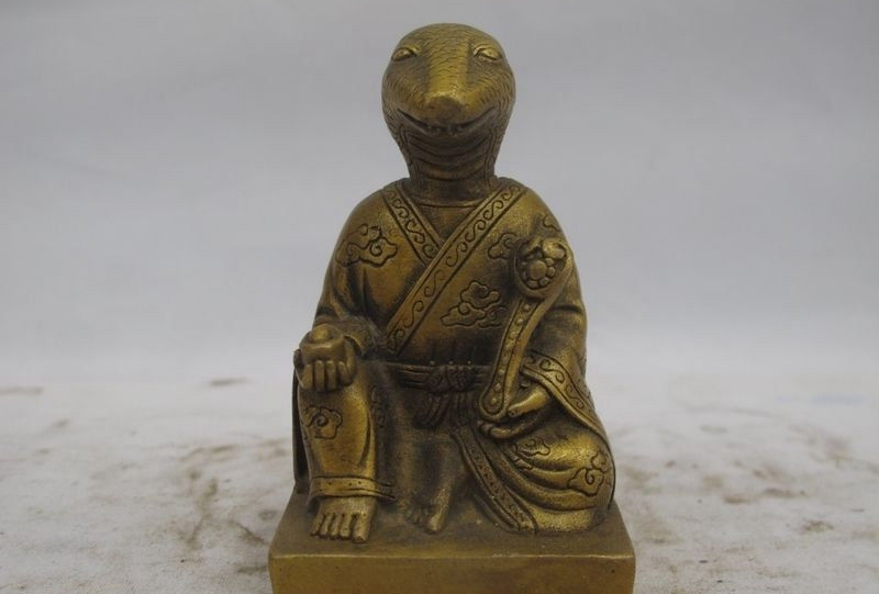 Chinese Folk Fengshui Bronze Copper Auspicious RuYi Zodiac Snake Buddha Statue|statue|statues buddha|statue bronze - title=